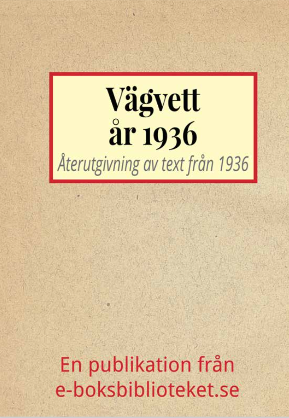 Book Cover: Vägvett år 1936