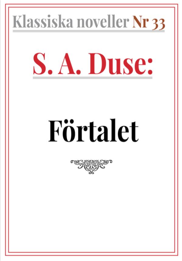 Book Cover: Klassiska noveller 33. S. A. Duse – Förtalet. Berättelse i dialog