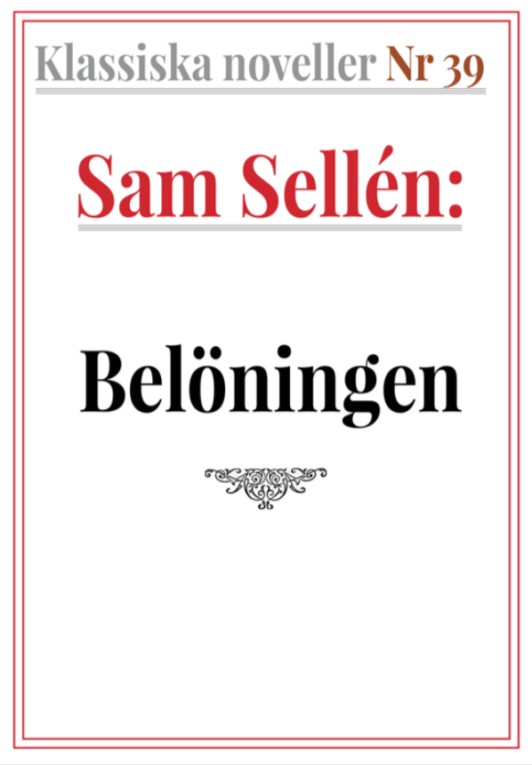 Book Cover: Klassiska noveller 39. Sam Sellén – Belöningen