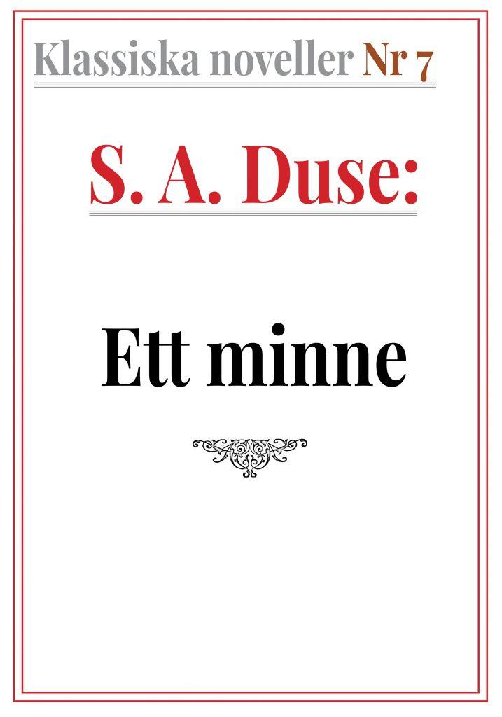Book Cover: Klassiska noveller 7. S. A. Duse – Ett minne. Skiss