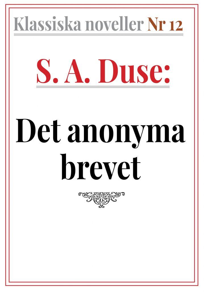 Book Cover: Klassiska noveller 12. S. A. Duse – Det anonyma brevet