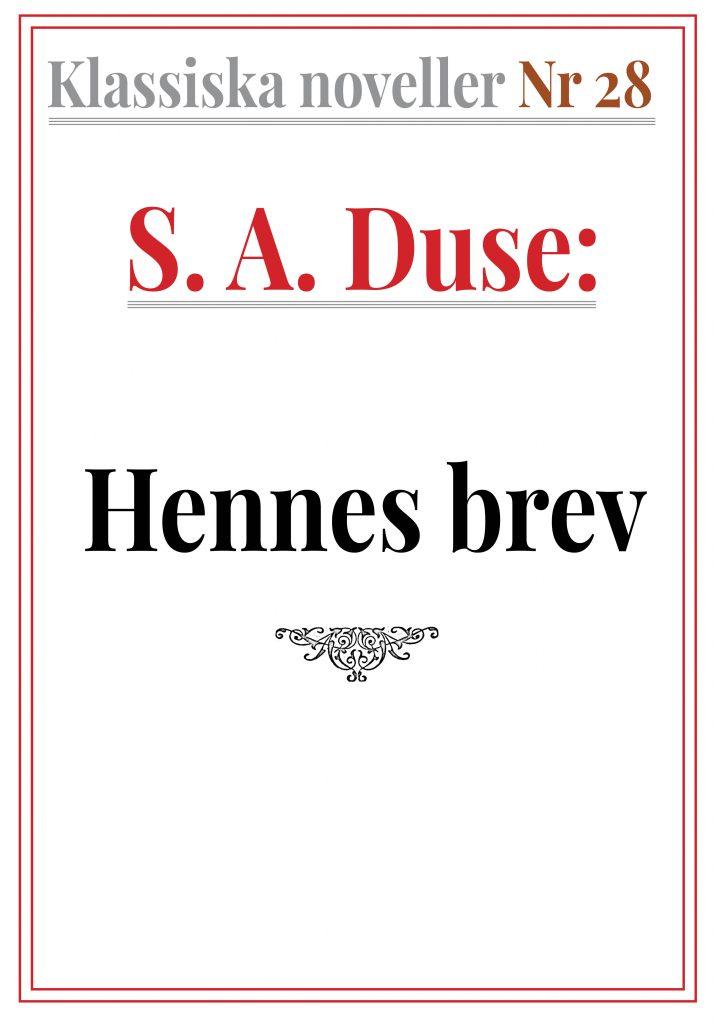 Book Cover: Klassiska noveller 28. S. A. Duse – Hennes brev. Berättelse från fronten