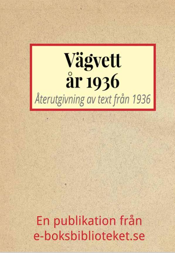 Book Cover: Vägvett år 1936