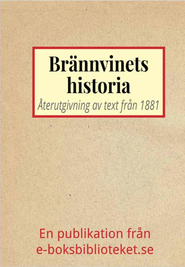 Book Cover: Brännvinets svenska historia